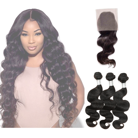LACE CLOSURE - BODY WAVE + 3 BUNDLES(#1B)