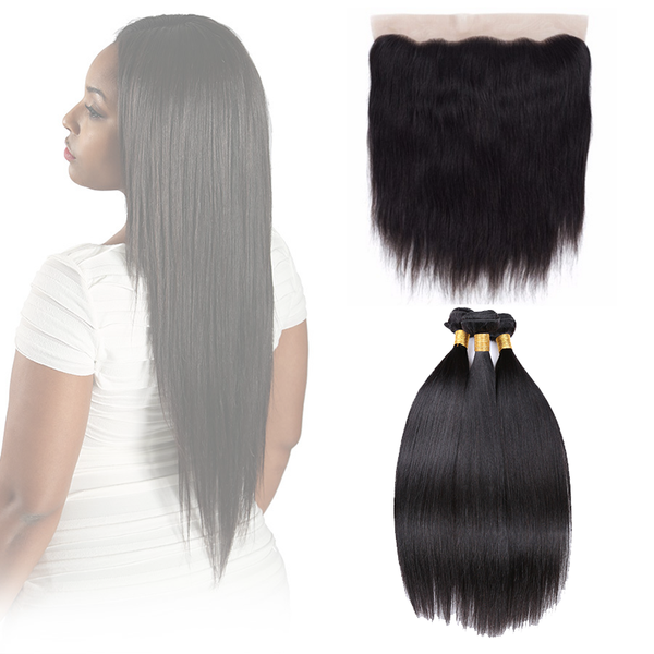 "13"" X 4"" LACE FRONTAL - STRAIGHT + 3 BUNDLES(#1B)"