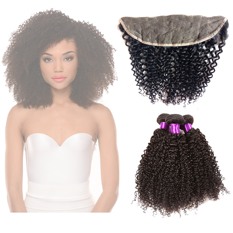 "13"" X 4"" LACE FRONTAL -KINKY CURLY + 3 BUNDLES(#1B)"