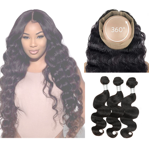 360° LACE FRONTAL - BODY WAVE + 3 BUNDLES(#1B)