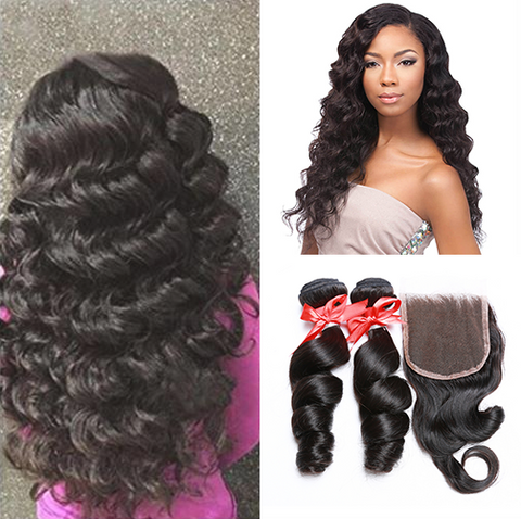 LACE CLOSURE -LOOSE WAVE + 2 BUNDLES