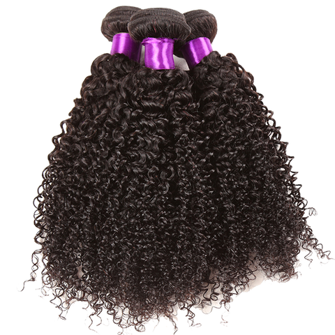 LACE CLOSURE - KINKY CURLY + 3 BUNDLES(#1B)