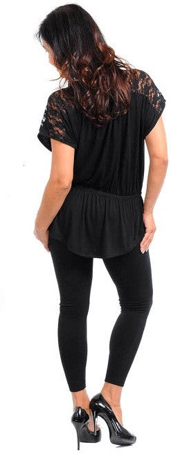 Black Blouson Top With Detail Shoulders-Plus Size