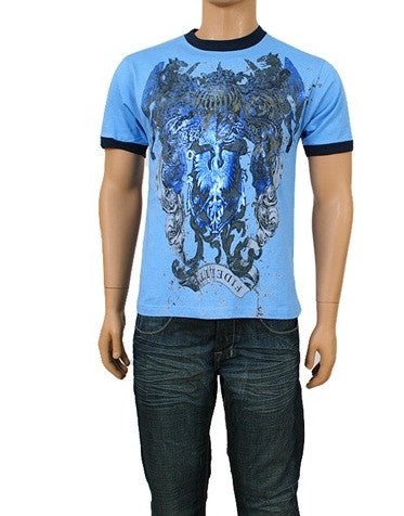Men's Front Design Tee Shirt with Rock Star Look (Blue) - Comfort Styles