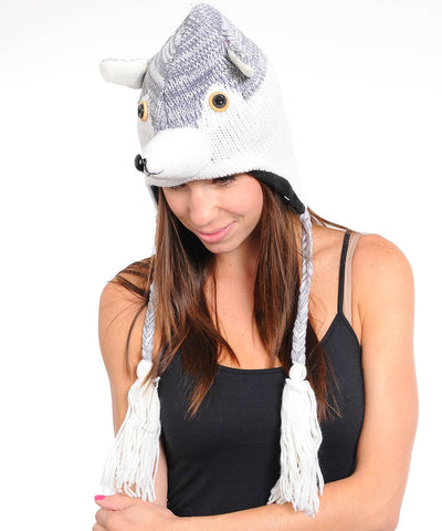 Animal head winter fleece hat - Husky Dog