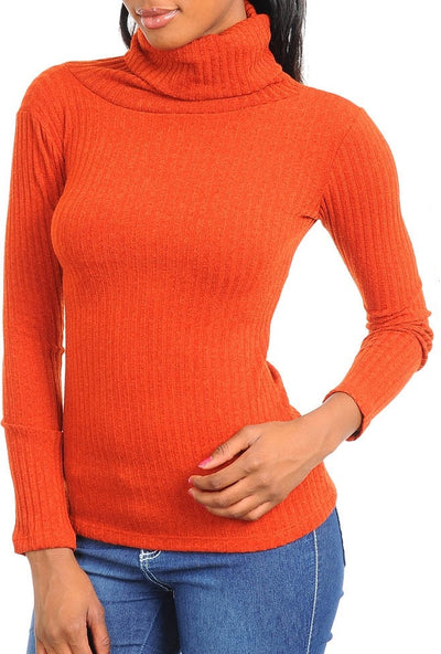 Brick Long Sleeve Turtle Neck Top