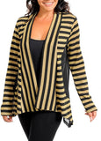 Long Sleeves Gold and Black Cardigan (Plus Size)