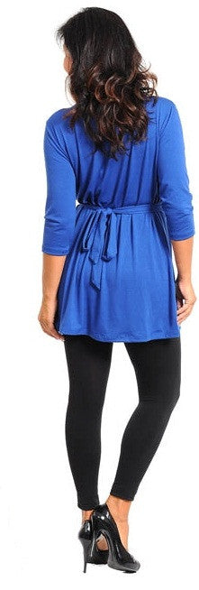 Quarter-Sleeve Top With Stone Waist Detail (Plus Size)