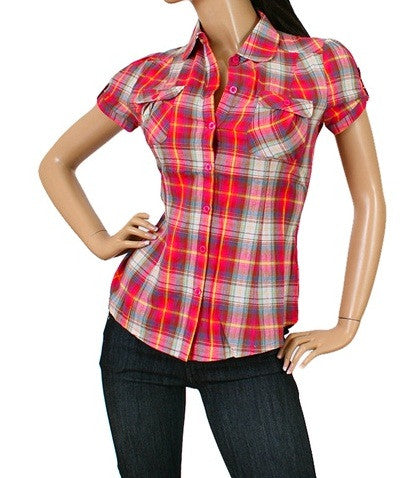 Cute Short Sleeve Button Up Junior Fuchsia Plaid Shirt - Comfort Styles