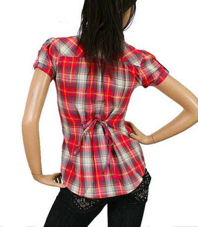 Cute Short Sleeve Button Up Junior Fuchsia Plaid Shirt