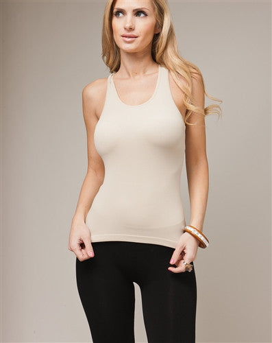 Sexy Khaki Y-Back Stretch Tank Top