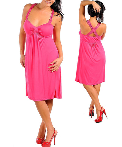 Zenobia Fucshia V-Neck Fashion Maxi dress