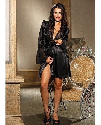 Chiffon & Lace Bell Sleeve Robe Black