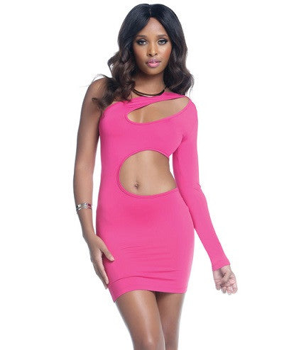 One Sleeve Bodycon Dress w/Keyhole & Wrap Around Cutouts Hot Pink