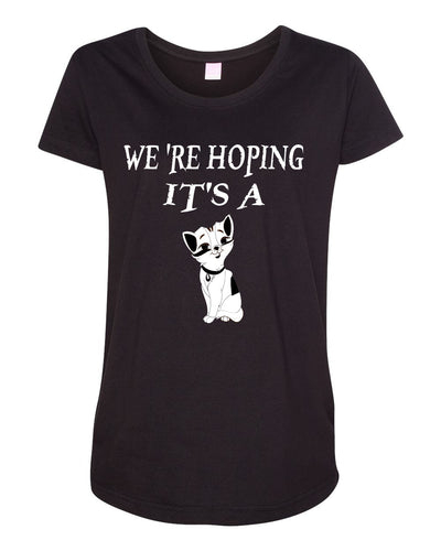 Women's We're Hoping It's A Cat Maternity Scoop Neck Fine Jersey T-Shirt - Comfort Styles