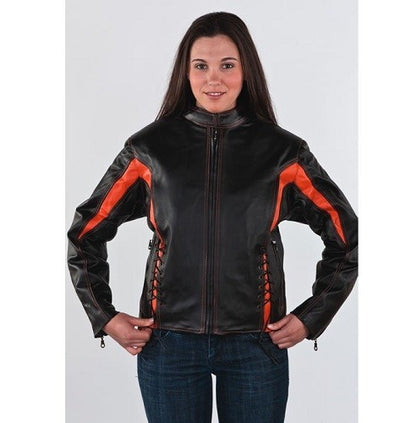 Women's Black & Orange Racer Jacket With 2 Laces On Front & Back