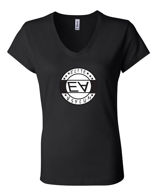 Women's Elite Asylum Black Short Sleeve Jersey V-Neck Tee - Comfort Styles