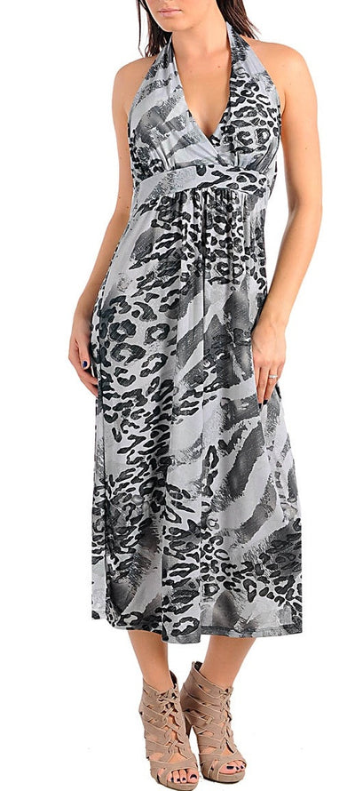 Adiction- Below the knees length Halter Dress Grey/Black -Plus Size