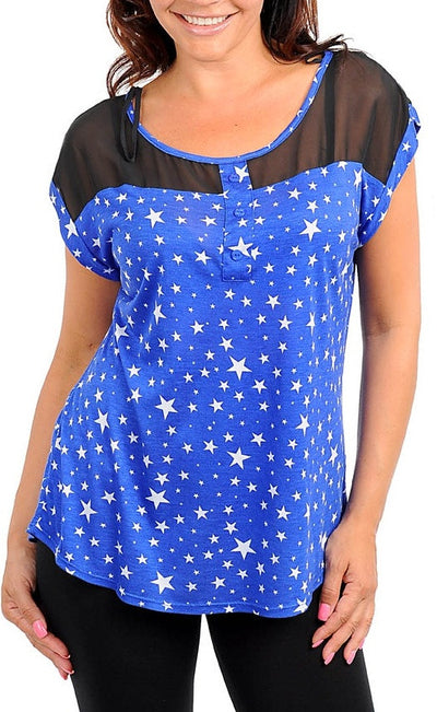 Zenobia royal star print short sleeve top with sheer neckline