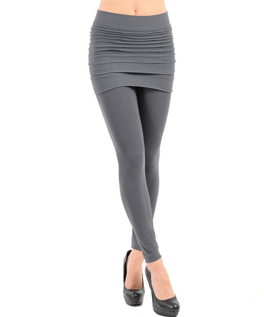 Charcoal fashion wrinkle seamless skirts leggings - Comfort Styles