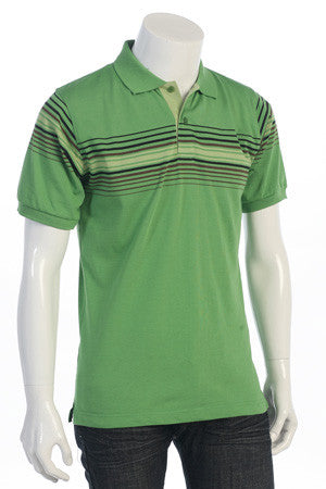 Men's Stripe Jersey Polo Shirt - Comfort Styles