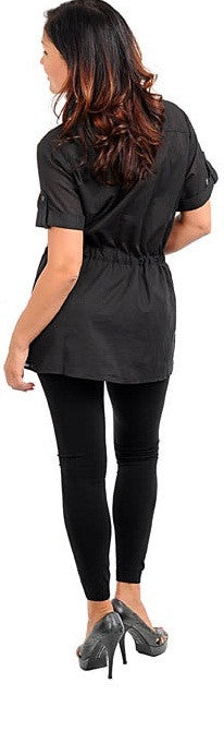 Zenobia black collarded drawstring tunic top