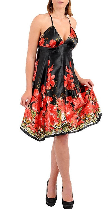 Beautiful black and red halter floral print dress - Comfort Styles