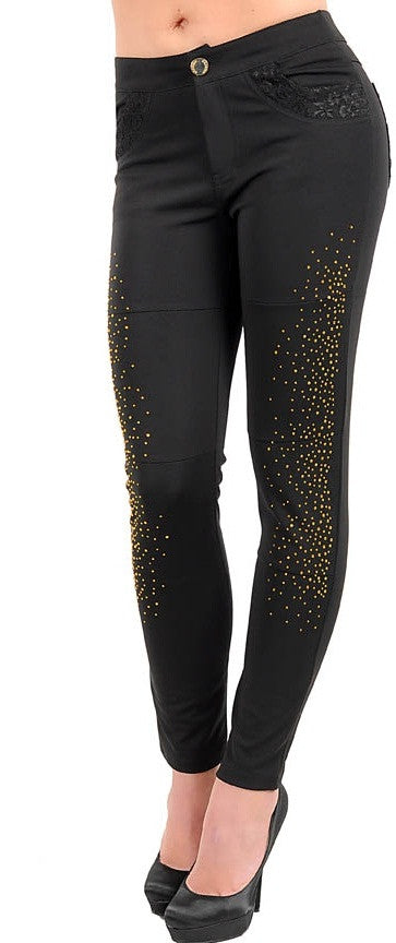 Women's Black Ladies Pants With Lace Detail Pockets - Comfort Styles