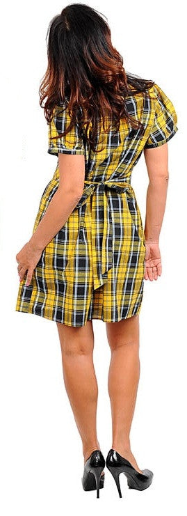Zenobia yellow and black plaid shirt dress