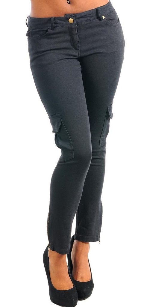 Women's Black Cargo Zipper Skinny Pants - Comfort Styles