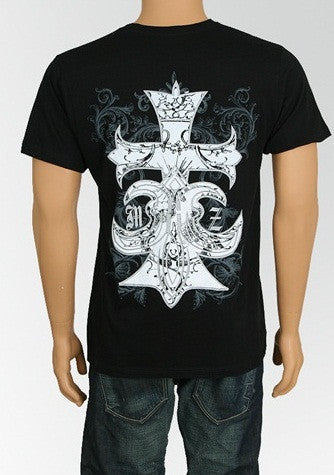 Men's Black Cross Design T-Shirt