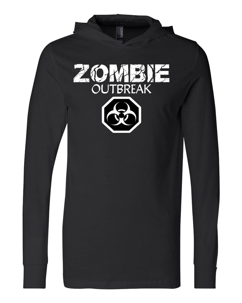 Unisex Long Sleeve Jersey Hooded Zombie Outbreak T-Shirts - Comfort Styles