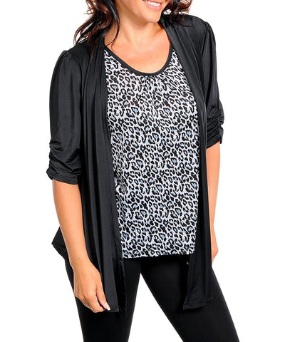 Women's Gray And Black Animal Top-Plus Size