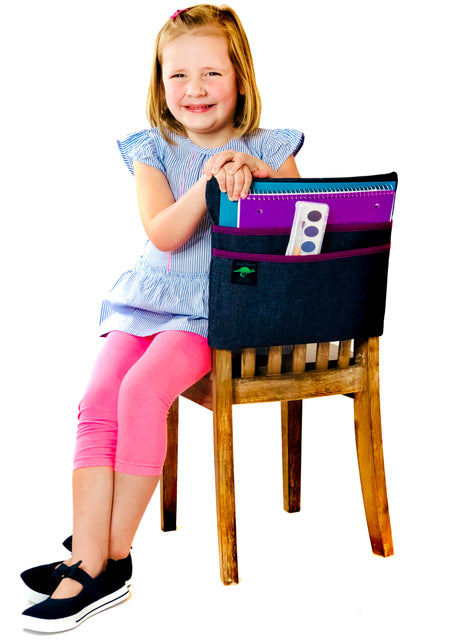 student with Aussie Pouch® chair pocket seat sack