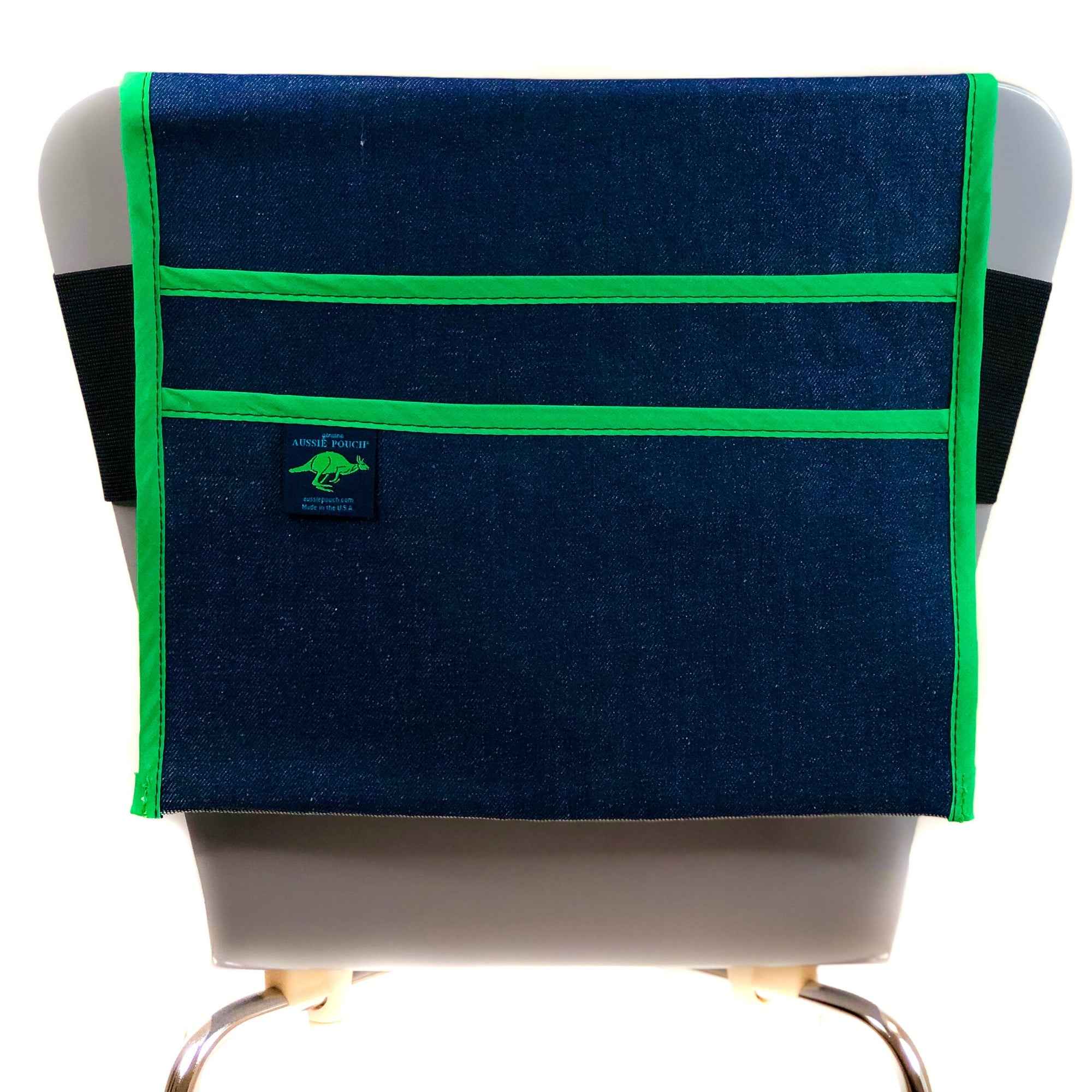 Aussie Pouch Classic Adjustable Chair Pocket Green Trim