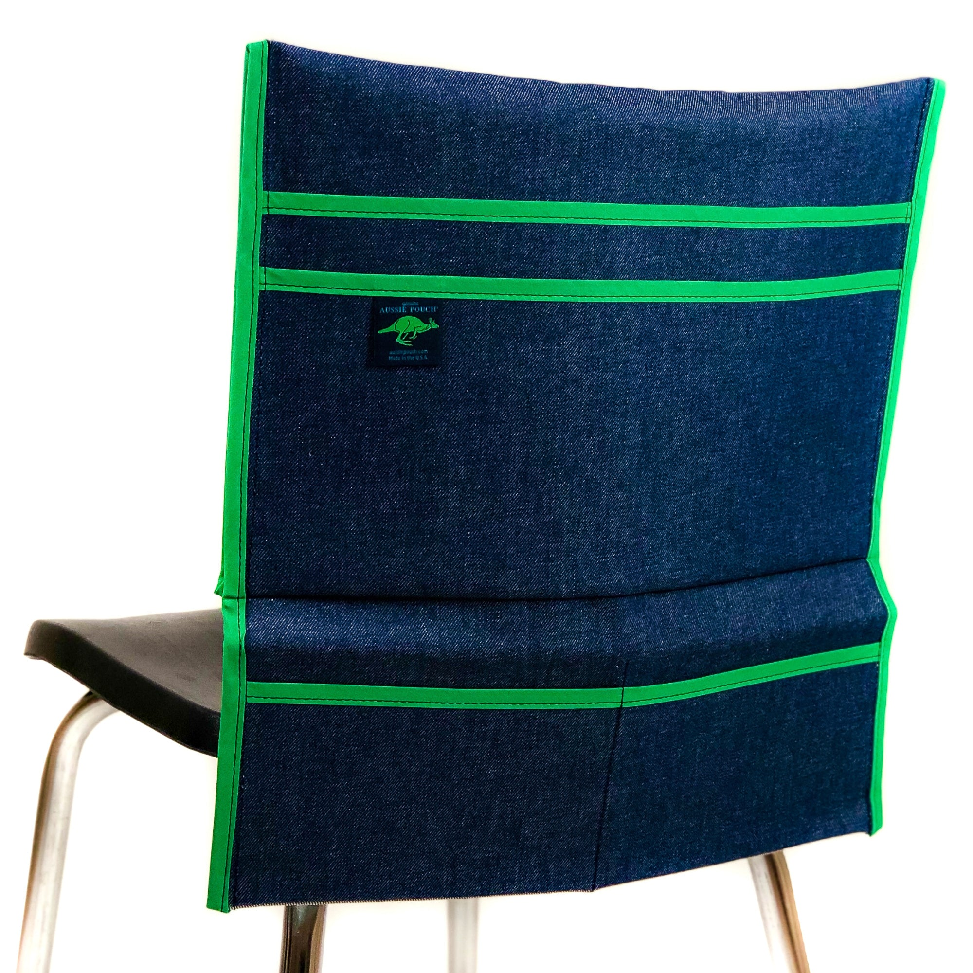 Aussie Pouch Organizer Chair Pocket Green Trim