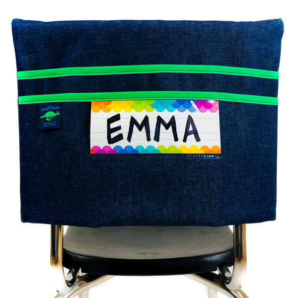Aussie Pouch Classic Chair Pocket Green Trim with Name Tag Holder