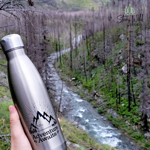 Adventure Awaits! 17 oz Water Bottle