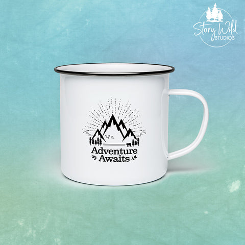 Adventure Awaits! 10 oz Enamel Mug