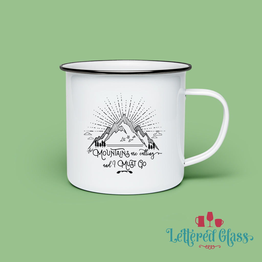 The Mountains are Calling 10 oz Enamel Mug