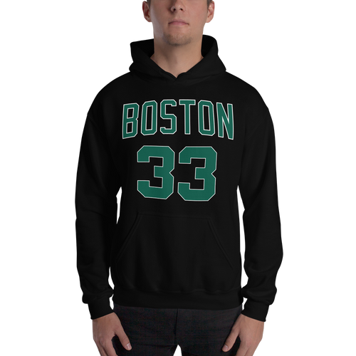 L. Bird Larry Legend #33 Boston (Nickname & Number) Front & Back Hooded Sweatshirt