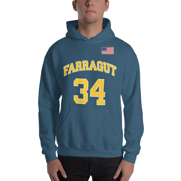 K. Garnett #34 Farragut High School (Name & Number) Front & Back Hooded Sweatshirt