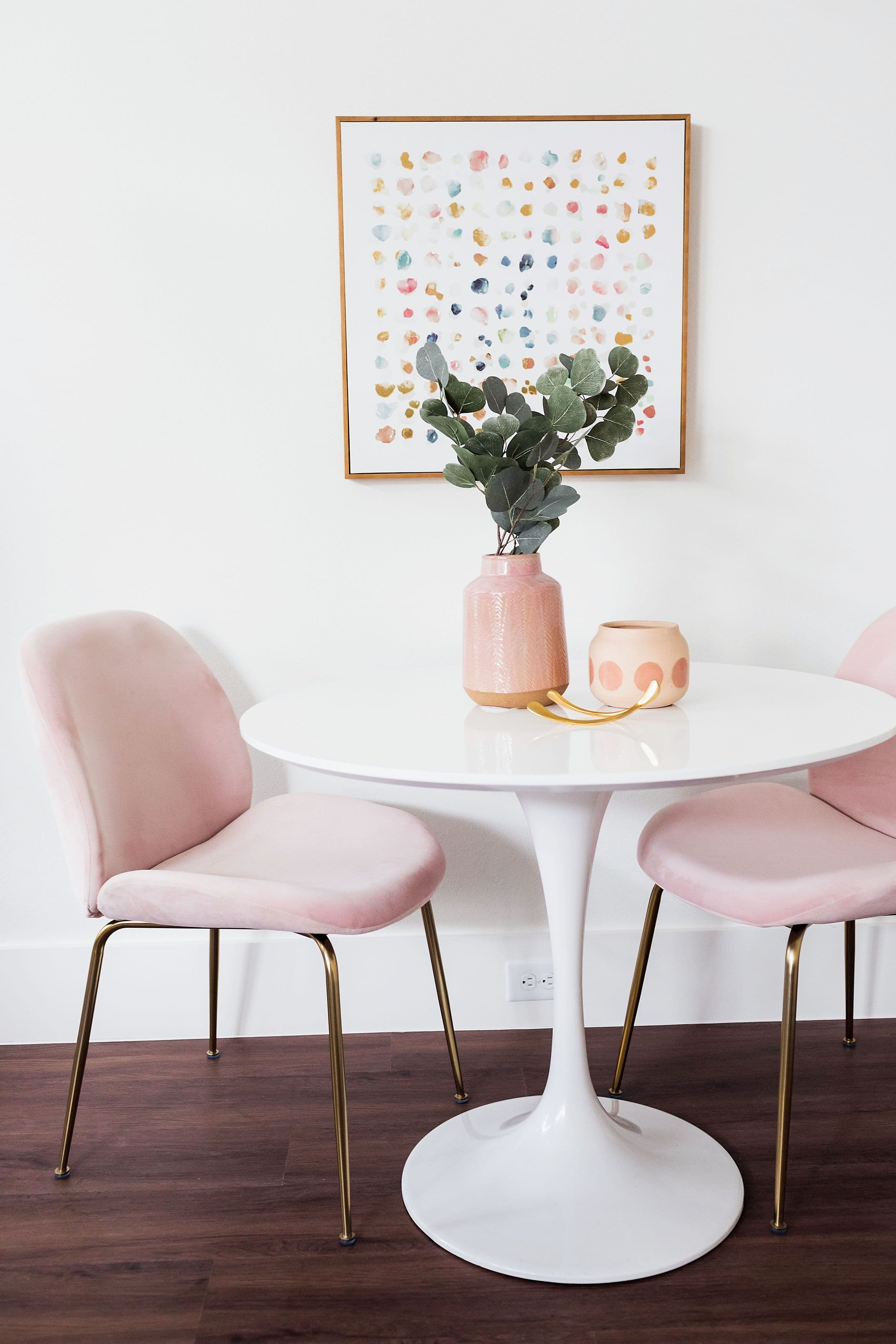 Picture of: Verona Modern Velvet Dining Chairs Set Of 2 Blush Pink Edloe Finch Furniture Co