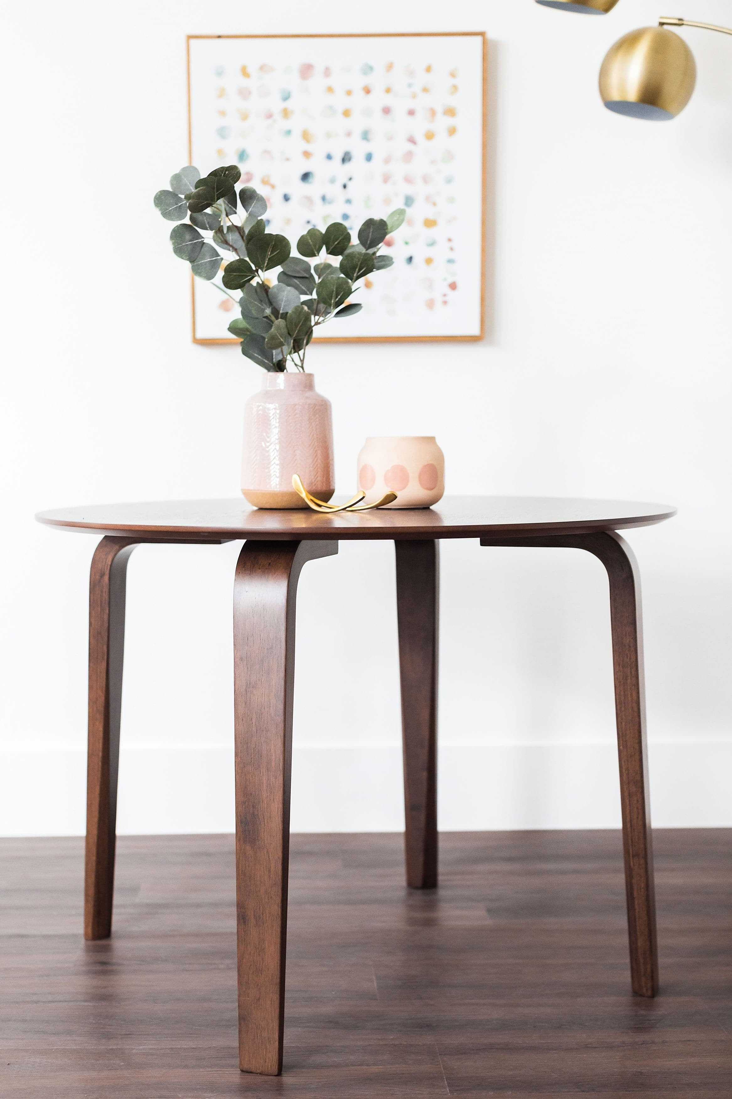 Bali Mid Century Modern Round Dining Table Small Kitchen Table Walnut Edloe Finch Furniture Co