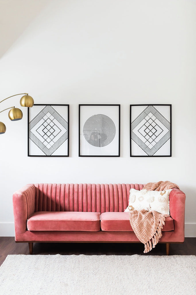 Laurel Velvet Sofa (Pink)