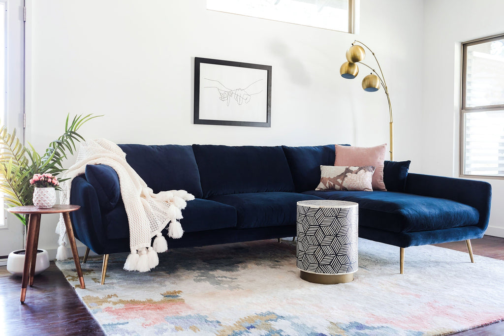Harlow Sectional Sofa (Blue Velvet)