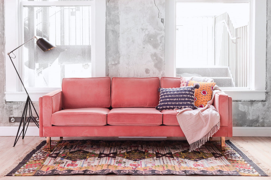 Lexington Velvet Sofa (Blush Pink)