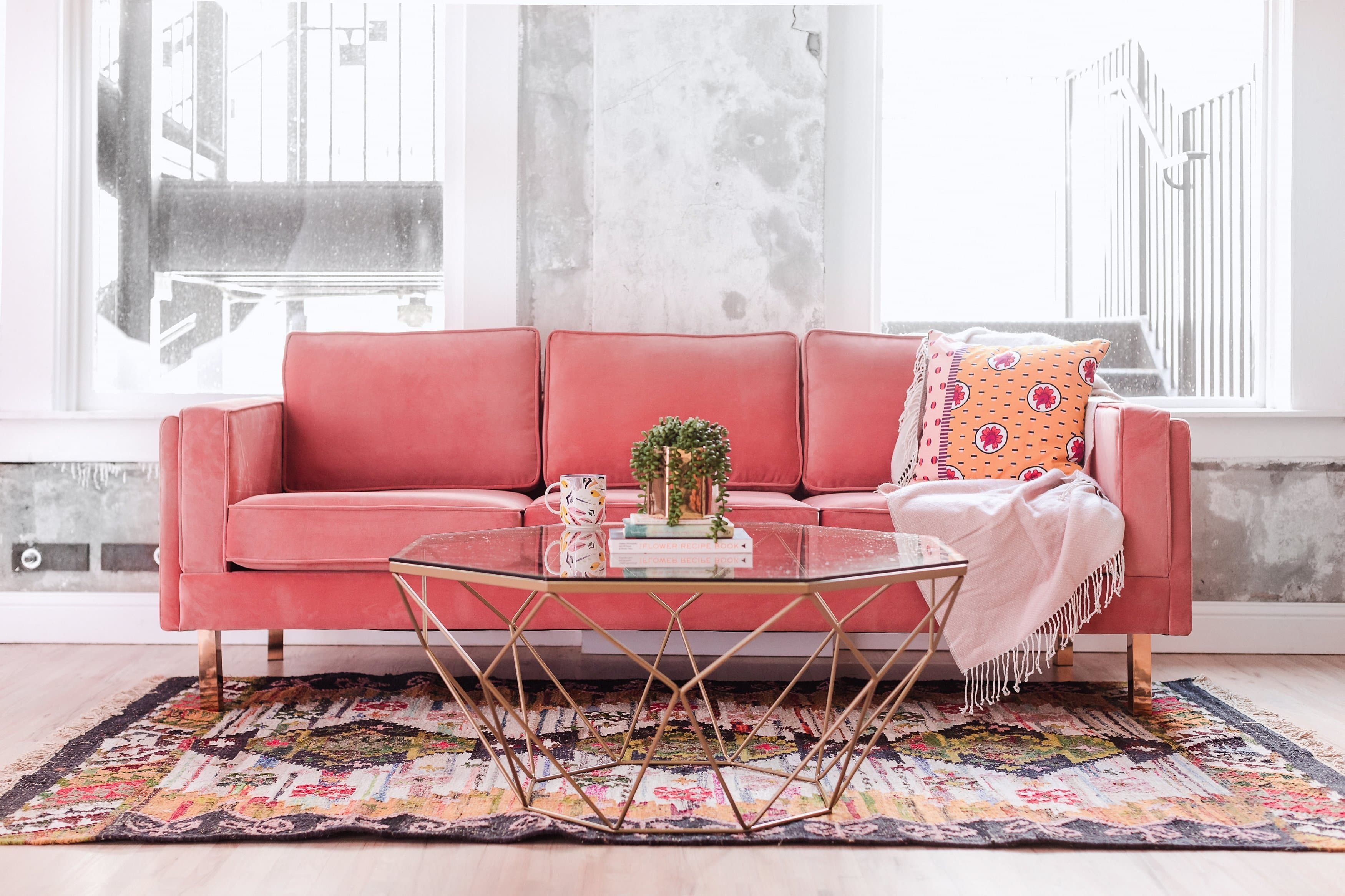 Lexington Midcentury Modern Sofa Blush Pink Velvet Sofa
