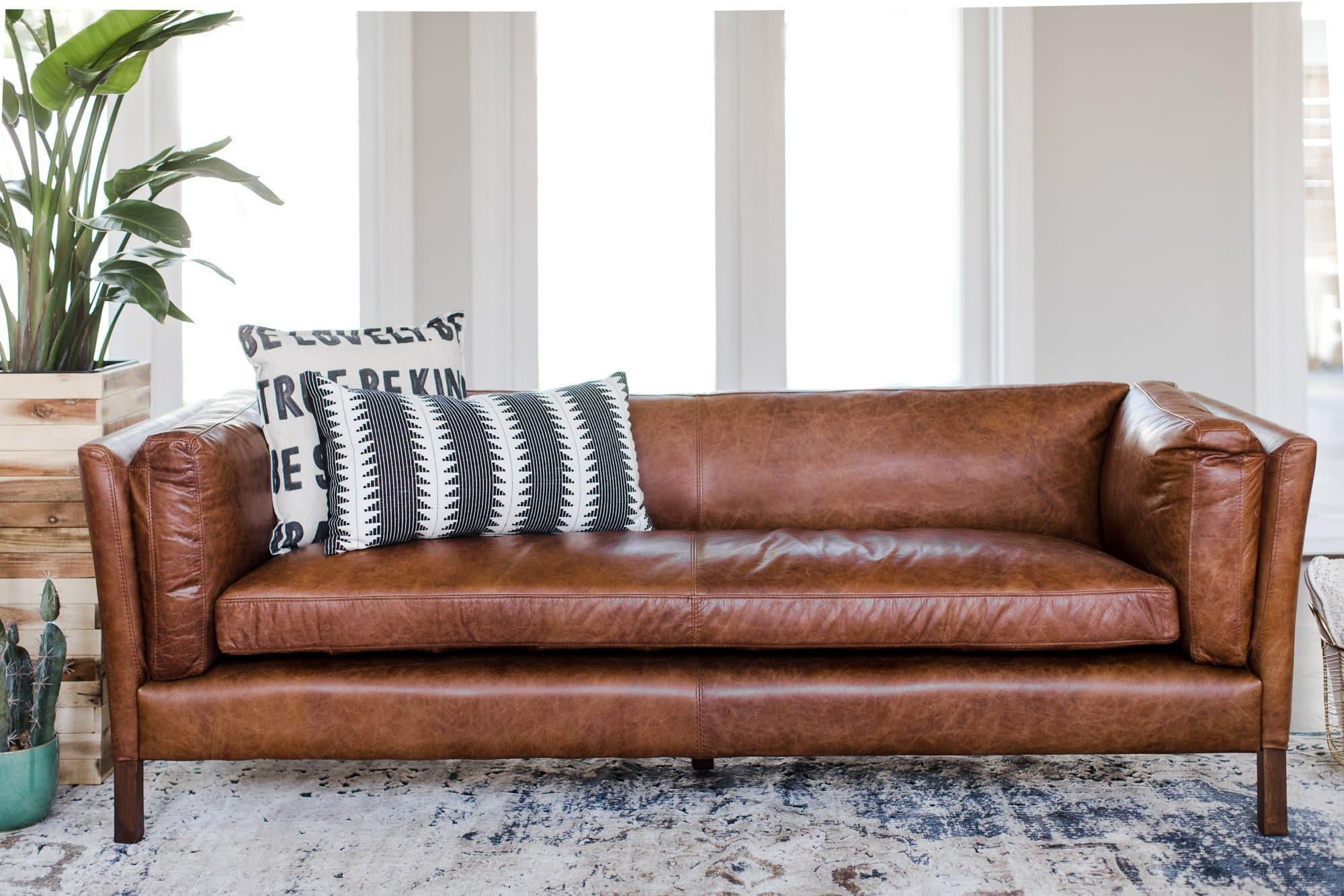 Finley Mid-Century Modern Leather Sofa - MidCentury Leather Couch ...