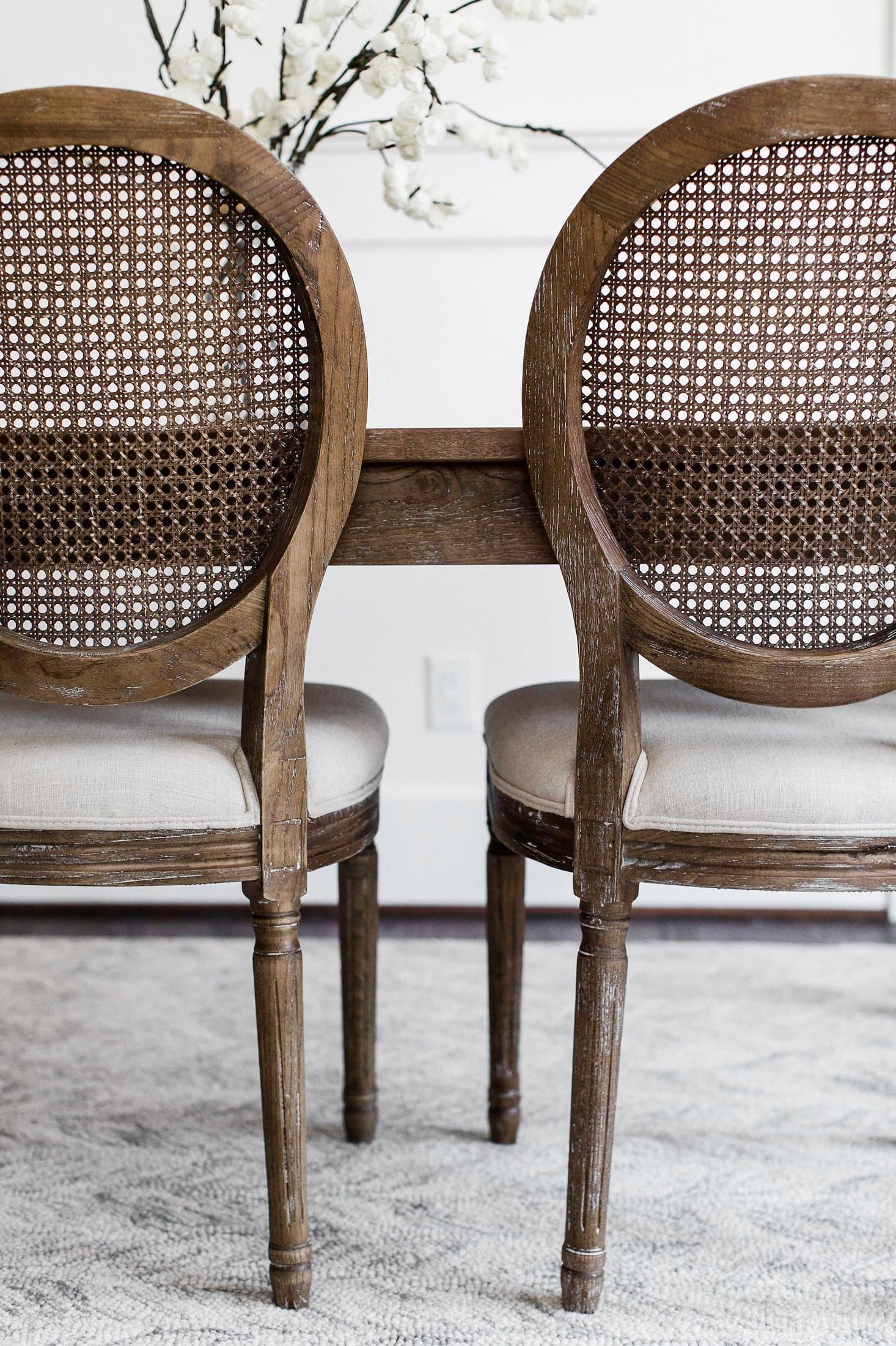 Charlie French Country Cane Back Dining Chairs Set Of 2 Edloe Finch Furniture Co